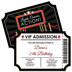 Red Carpet Hollywood - Shaped Movie Night Birthday Party Invitations - Set of 12