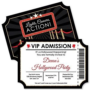 Red Carpet Hollywood - Shaped Movie Night Party Invitations - Set of 12