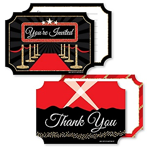 Red Carpet Hollywood - 20 Shaped Fill-In Invitations and 20 Shaped Thank You Cards Kit - Movie Night Party Stationery Kit - 40 Pack