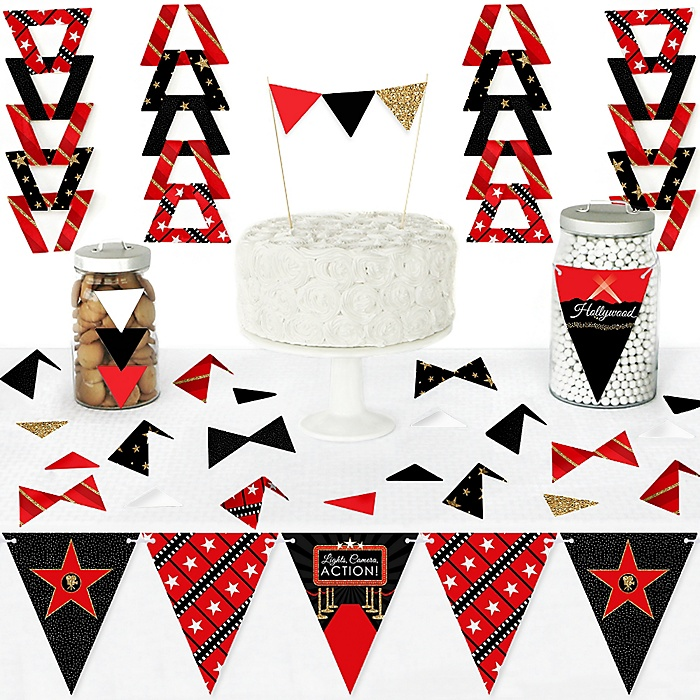 Red Carpet Hollywood - DIY Pennant Banner Decorations - Movie Night Party Triangle Kit - 99 Pieces