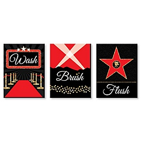 Red Carpet Hollywood - Kids Bathroom Rules Wall Art - 7.5 x 10 inches - Set of 3 Signs - Wash, Brush, Flush