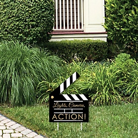 Red Carpet Hollywood - Outdoor Lawn Sign - Movie Night Party Yard Sign - 1 Piece