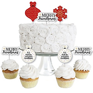 Red and Gold Friendsmas - Dessert Cupcake Toppers - Friends Christmas Party Clear Treat Picks - Set of 24