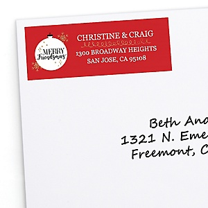 Red and Gold Friendsmas - Personalized Friends Christmas Party Return Address Labels - 30 ct