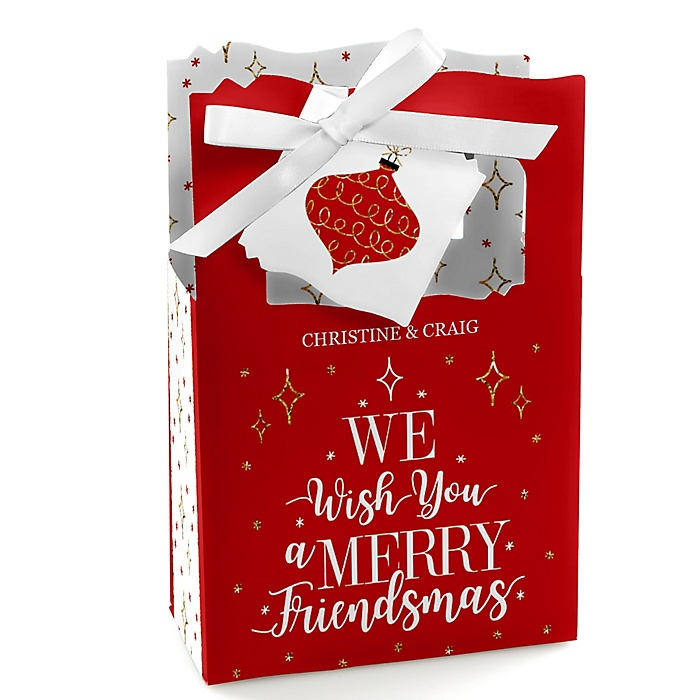 Red and Gold Friendsmas - Friends Christmas Gift Favor Boxes - Set of 12