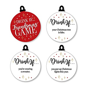 Drink If Game - Red and Gold Friendsmas - Friends Christmas Party Game - 24 Count