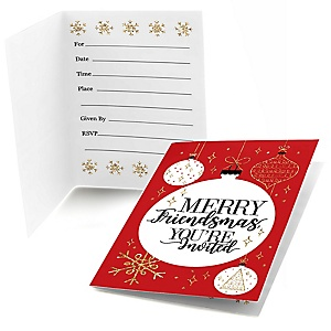 Red and Gold Friendsmas - Fill In Friends Christmas Invitations