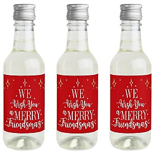 Red and Gold Friendsmas - Mini Wine and Champagne Bottle Label Stickers - Friends Christmas Party Favor Gift - For Women and Men - Set of 16