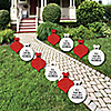Red and Gold Friendsmas - Lawn Decorations - Outdoor Friends Christmas Party Yard Decorations - 10 Piece