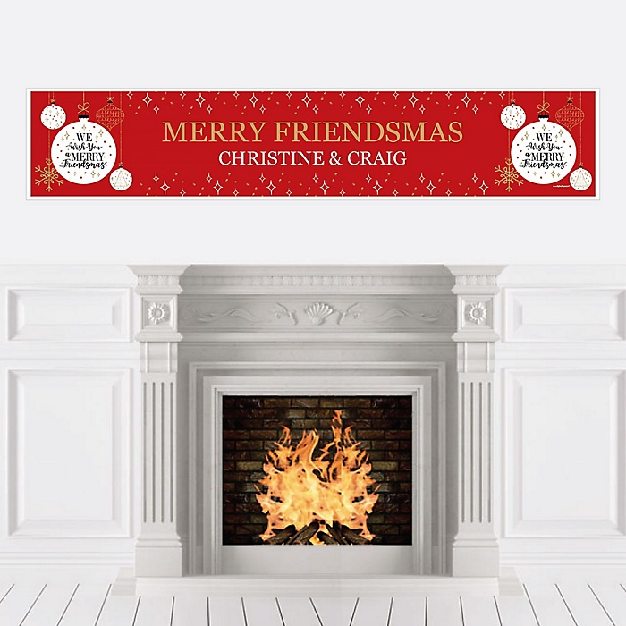 Red and Gold Friendsmas - Personalized Friends Christmas Banners