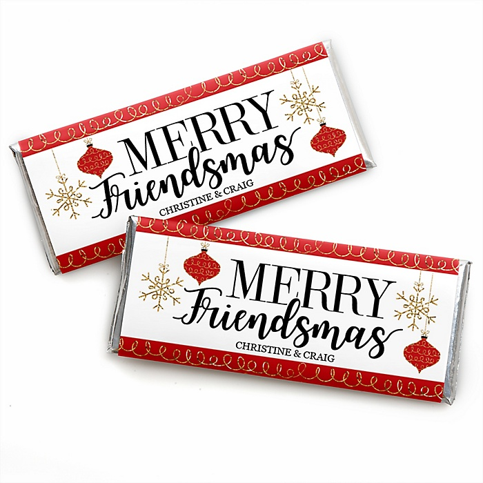 Red and Gold Friendsmas - Personalized Candy Bar Wrappers Friends Christmas Favors - Set of 24