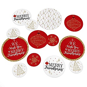 Red and Gold Friendsmas - Friends Christmas Party Giant Circle Confetti - Party Decorations - Large Confetti 27 Count