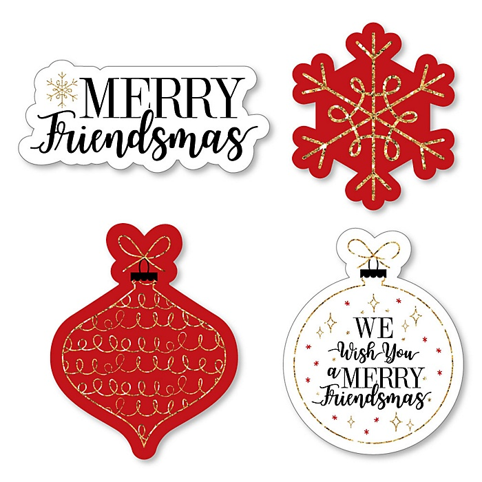 Red and Gold Friendsmas - DIY Shaped Friends Christmas Party Cut-Outs - 24 ct