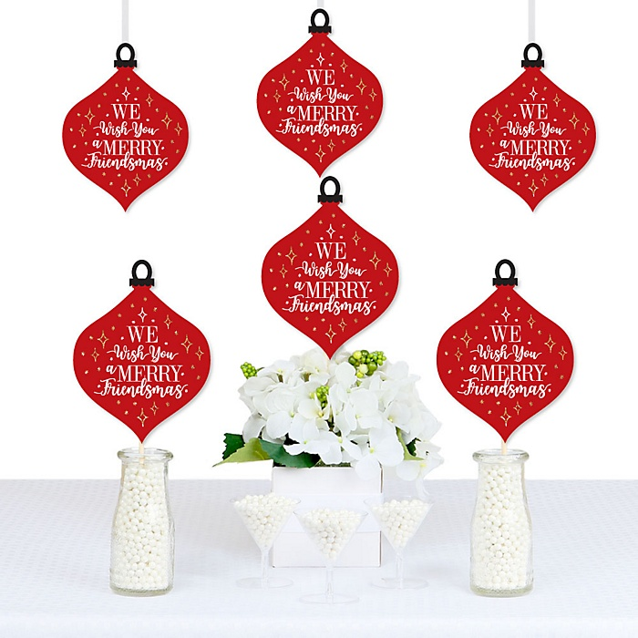 Red and Gold Friendsmas - Ornament Decorations DIY Friends Christmas Party Essentials - Set of 20