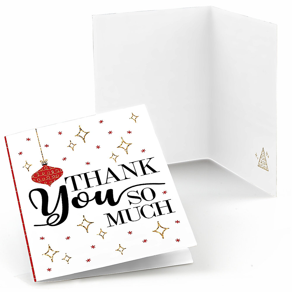 Christmas Thank You Cards.Red And Gold Friendsmas Friends Christmas Thank You Cards Set Of 8