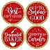 Red and Gold Friendsmas - Friends Christmas Party Funny Name Tags - Party Badges Sticker Set of 12