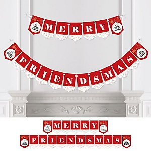 Red and Gold Friendsmas - Personalized Friends Christmas Party Bunting Banner & Decorations