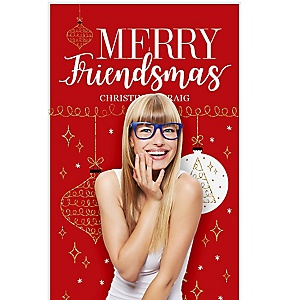 """Red and Gold Friendsmas - Friends Christmas Photo Booth Backdrops - 36"""" x 60"""""""