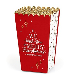 Red and Gold Friendsmas - Personalized Friends Christmas Party Popcorn Favor Treat Boxes - Set of 12