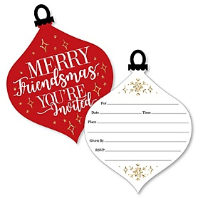 Red and Gold Friendsmas - Shaped Fill-In Invitations - Friends Christmas Party Invitation Cards with Envelopes - Set of 12