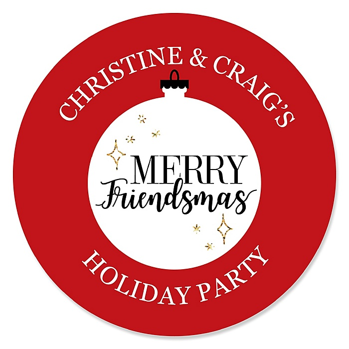 Red and Gold Friendsmas - Personalized Round Friends Christmas Party Sticker Labels - 24 ct
