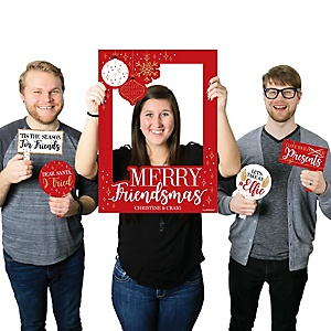 Red and Gold Friendsmas - Personalized Friends Christmas Selfie Photo Booth Picture Frame & Props - Printed on Sturdy Material