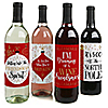 Red and Gold Friendsmas - Friends Christmas Party Wine Bottle Label Stickers - Set of 4