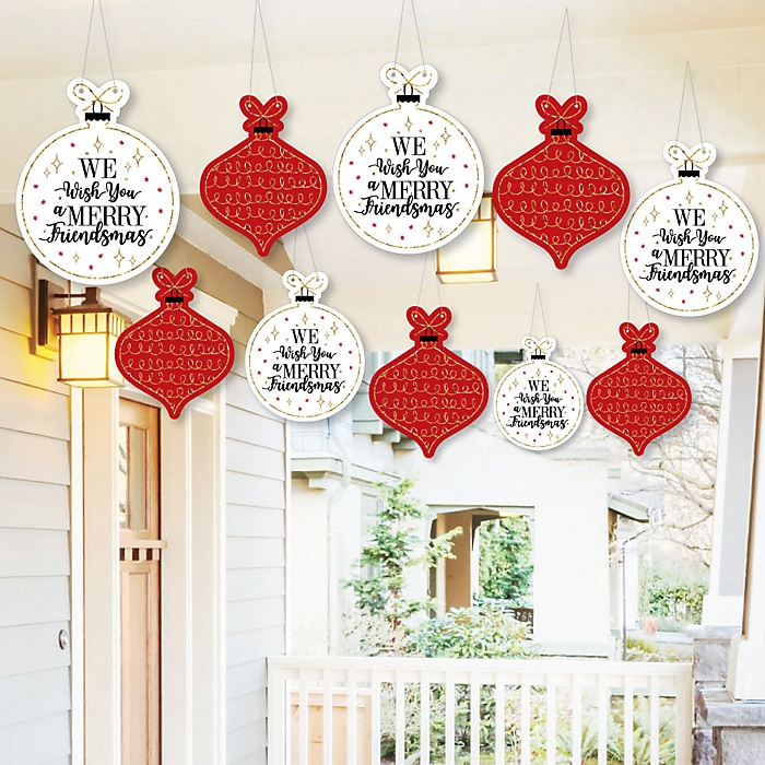 Hanging Red and Gold Friendsmas - Outdoor Friends Christmas Hanging Porch & Tree Yard Decorations - 10 Pieces