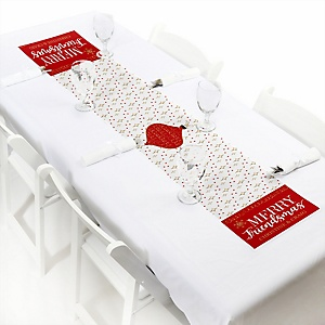 """Red and Gold Friendsmas - Personalized Petite Friends Christmas Table Runner - 12"""" x 60"""""""