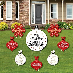 Red and Gold Friendsmas - Yard Sign & Outdoor Lawn Decorations - Friends Christmas Yard Signs - Set of 8