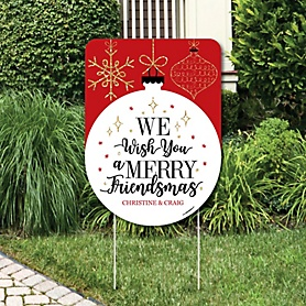 Red and Gold Friendsmas - Party Decorations - Friends Christmas Party Personalized Welcome Yard Sign