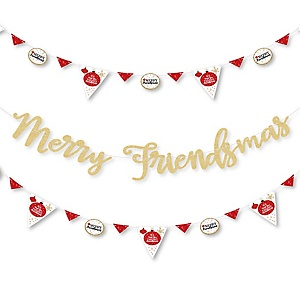 Red and Gold Friendsmas - Friends Christmas Letter Banner Decoration - 36 Banner Cutouts and Merry Friendsmas Banner Letters