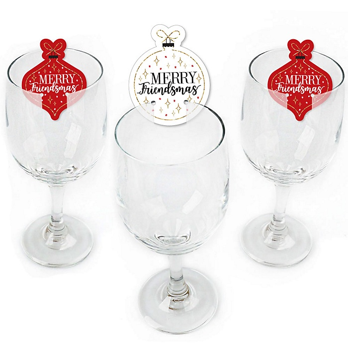 Red and Gold Friendsmas - Shaped Friends Christmas Wine Glass Markers - Set of 24