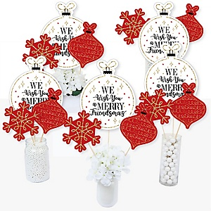 Red and Gold Friendsmas - Friends Christmas Party Centerpiece Sticks - Table Toppers - Set of 15