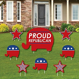 Republican Election - Yard Sign and Outdoor Lawn Decorations - Political 2020 Election Party Yard Signs - Set of 8