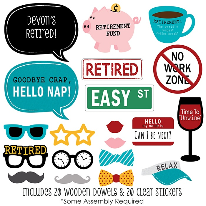 Retirement - 20 Piece Photo Booth Props Kit