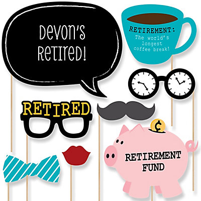 Retirement 20 Piece Photo Booth Props Kit