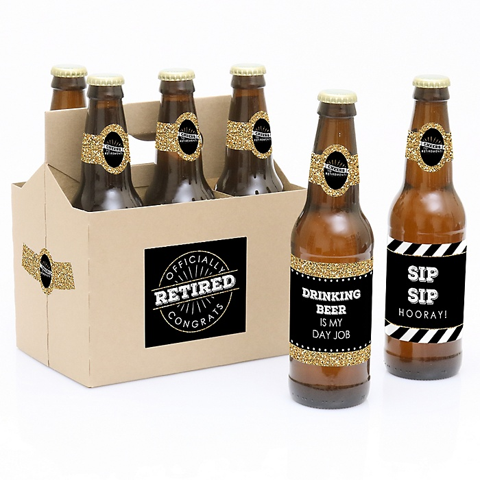 Happy Retirement - Decorations for Women and Men - 6 Beer Bottle Label Stickers and 1 Carrier - Retirement Gifts