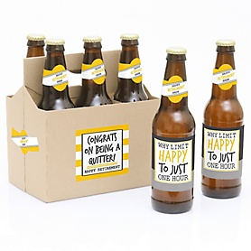 Retirement Party - Decorations for Women and Men - 6 Beer Bottle Label Stickers and 1 Carrier