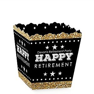 Happy Retirement - Party Mini Favor Boxes - Personalized Retirement Party Treat Candy Boxes - Set of 12