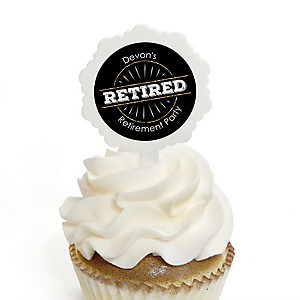 Happy Retirement - Cupcake Picks with Personalized Stickers - Retirement Party Cupcake Toppers