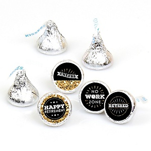 Happy Retirement - Round Candy Labels Retirement Party Favors - Fits Hershey Kisses