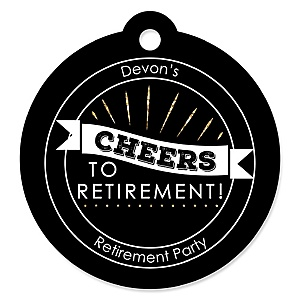 Happy Retirement - Round Personalized Retirement Party Die-Cut Tags - 20 ct