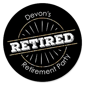 Happy Retirement - Round Personalized Retirement Party Sticker Labels