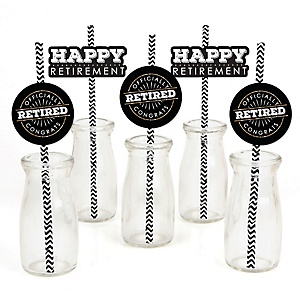 Happy Retirement - Retirement Party Straw Decor with Striped Paper Straws - Set of 24