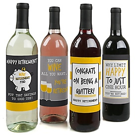 Retirement Party - Decorations for Women and Men - Wine Bottle Label Stickers - Set of 4
