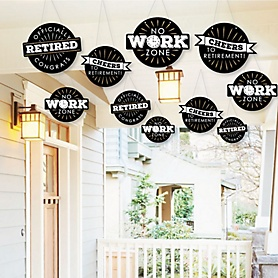 Hanging Happy Retirement - Outdoor Retirement Party Hanging Porch & Tree Yard Decorations - 10 Pieces