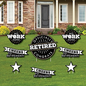 Happy Retirement - Yard Sign & Outdoor Lawn Decorations - Retirement Party Yard Signs - Set of 8