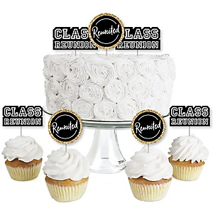 Reunited - Dessert Cupcake Toppers - School Class Reunion Party Clear Treat Picks - Set of 24