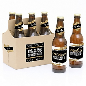 Reunited - School Class Reunion - Decorations for Women and Men - 6 Beer Bottle Label Stickers 1 Carrier